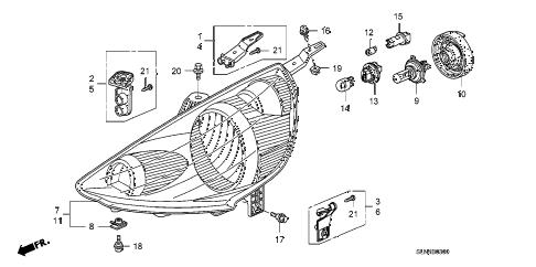 Honda online store : 2007 fit headlight parts