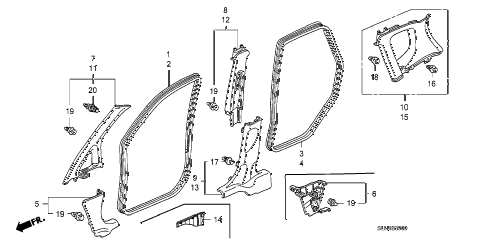 Honda online store : 2007 fit pillar garnish parts