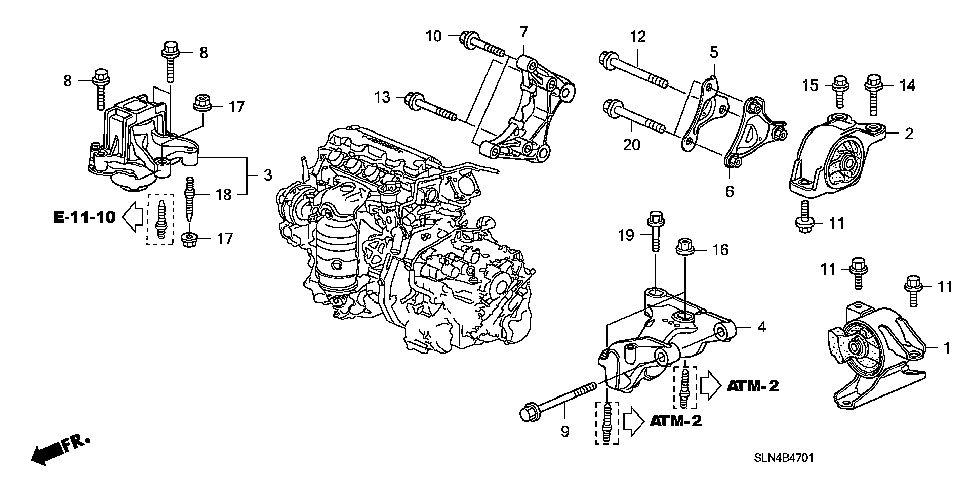 Honda online store : 2007 fit engine mounts (at) parts