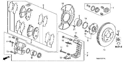 Honda online store : 2008 civic front brake (2.0l) parts