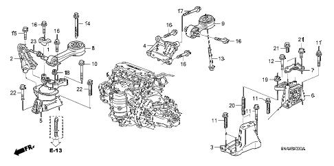 Honda online store : 2007 civic engine mounts (1.8l) (mt