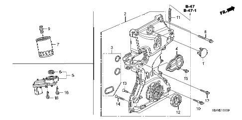Honda online store : 2007 civic oil pump (1.8l) parts