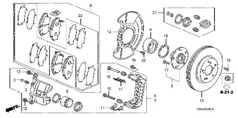 Honda online store : 2006 civic front brake (2.0l) parts