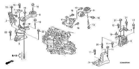 Honda online store : 2006 civic engine mounts (1.8l) (mt
