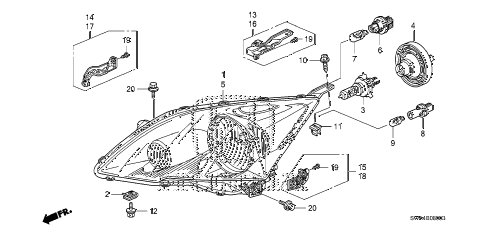 Honda online store : 2007 crv headlight parts