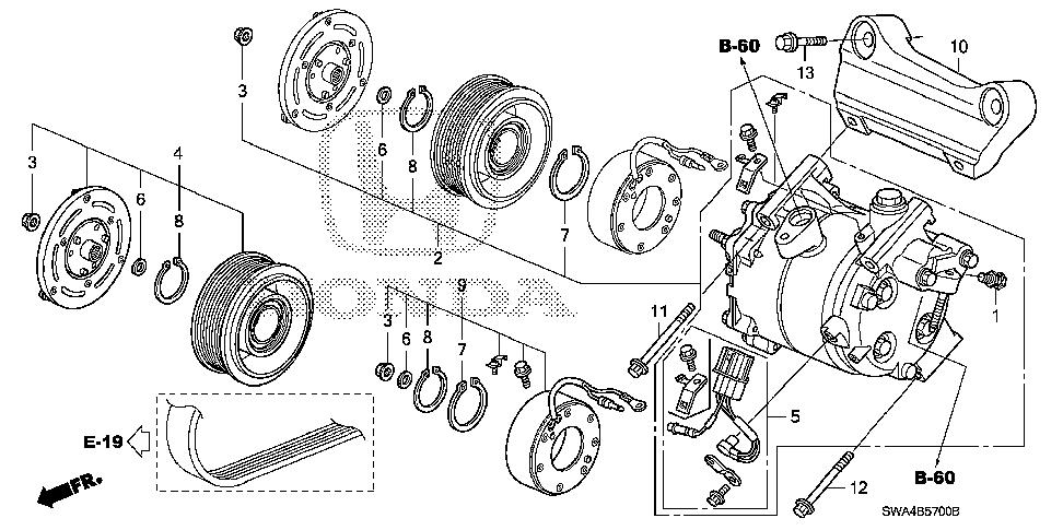 Honda online store : 2007 crv a/c compressor parts