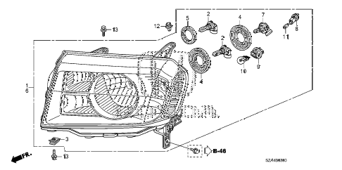 Honda online store : 2011 pilot headlight (-'11) parts