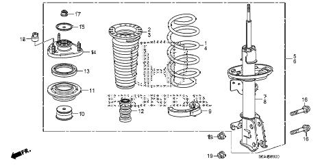 Honda online store : 2012 pilot front shock absorber parts