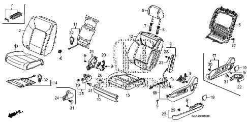Honda online store : 2012 pilot front seat (l.) parts