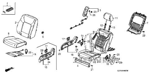 Honda online store : 2013 pilot front seat (r.) parts