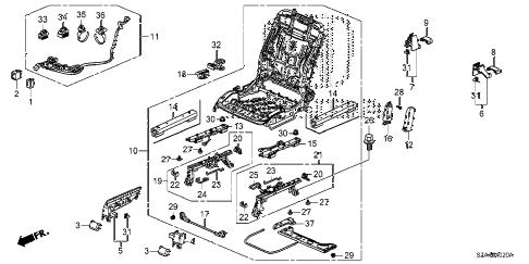 Honda online store : 2013 pilot front seat components (r