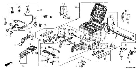 Honda online store : 2010 pilot front seat components (r