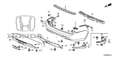 Honda online store : 2014 pilot rear bumper parts