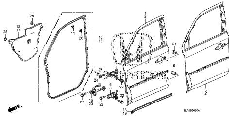 Honda online store : 2012 pilot front door panels parts