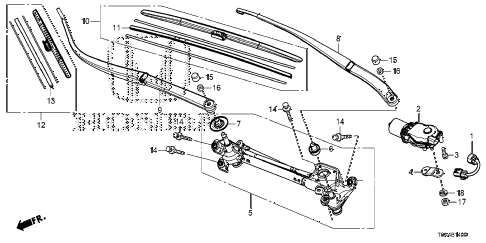 Honda online store : 2014 crv front windshield wiper parts
