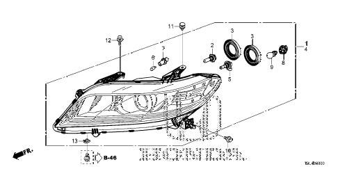 Honda online store : 2013 accord headlight (1) parts