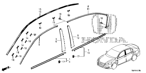 Honda online store : 2014 accord molding parts