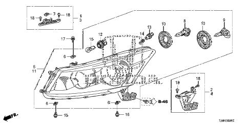 Honda online store : 2008 accord headlight parts