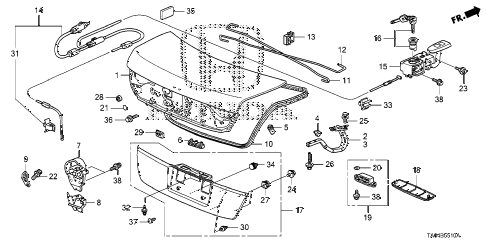 Honda online store : 2008 accord trunk lid (1) parts