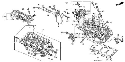 Honda online store : 2010 accord rear cylinder head (v6) parts
