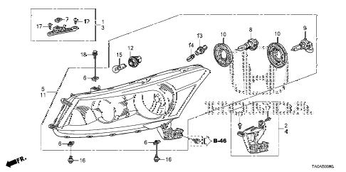 Honda online store : 2012 accord headlight parts