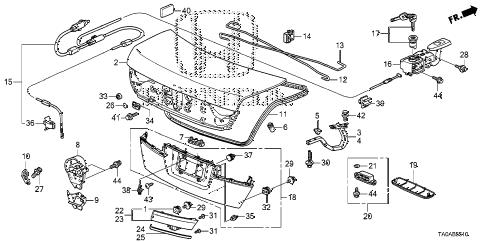 Honda online store : 2012 accord trunk lid parts