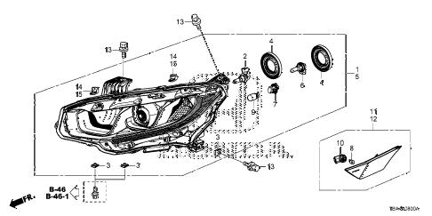 Honda online store : 2016 civic headlight (halogen) parts