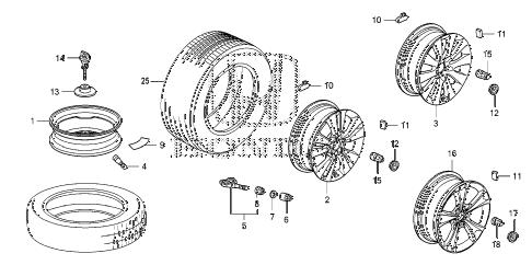 Honda online store : 2008 accord wheel disk (ka/kl) parts