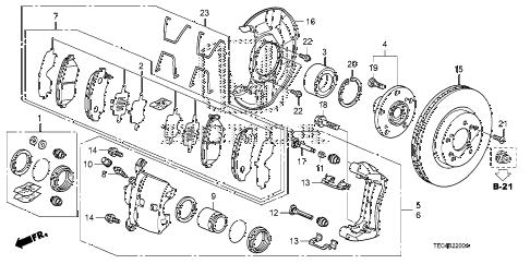 Honda online store : 2008 accord front brake (1) parts