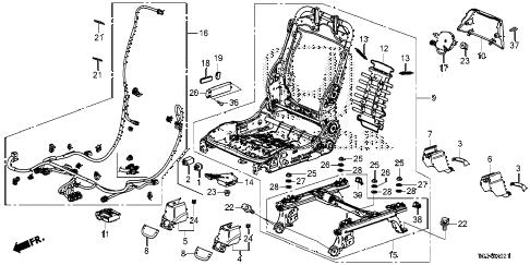 Honda online store : 2016 pilot front seat components (r