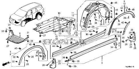 Honda online store : 2016 pilot side sill garnish parts