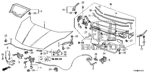 Honda online store : 2010 fit engine hood parts