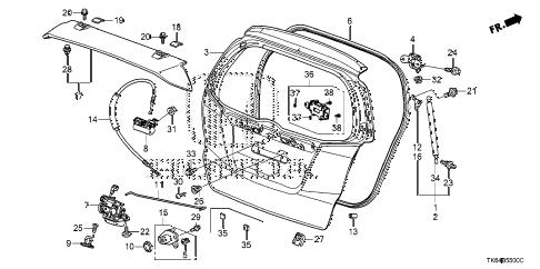 Honda online store : 2009 fit tailgate parts