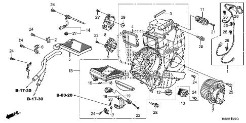 Honda online store : 2014 odyssey rear heater unit parts