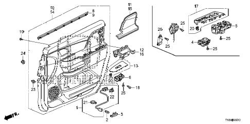Honda online store : 2011 odyssey front door lining parts