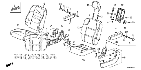 Honda online store : 2014 odyssey middle seat (r.) parts