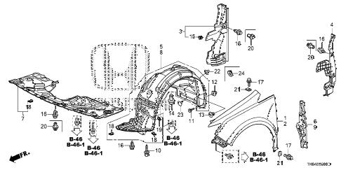 Honda online store : 2012 odyssey front fenders parts