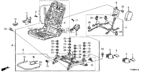 Honda online store : 2012 crosstour front seat components