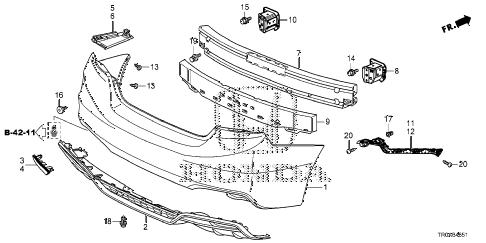 Honda online store : 2013 civic rear bumper (2) parts