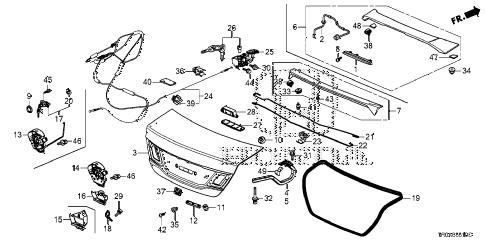 Honda online store : 2013 civic trunk lid parts