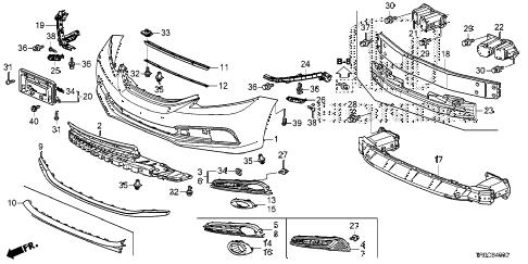 Honda online store : 2014 civic front bumper parts