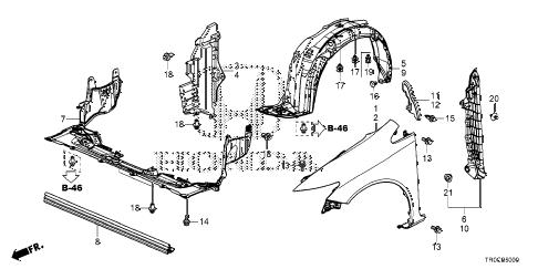 Honda online store : 2015 civic front fenders parts