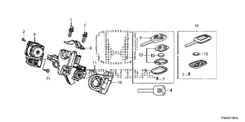 Honda online store : 2013 civic key cylinder components parts