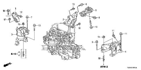 Honda online store : 2012 civic engine mounts (1.8l) (at