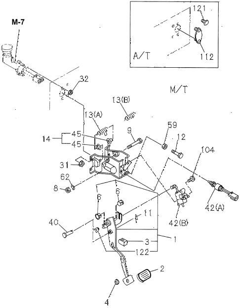 Honda online store : 1995 passport mt clutch pedal