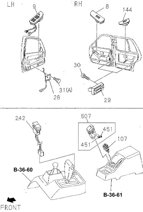 Honda online store : 1994 passport power window switch parts