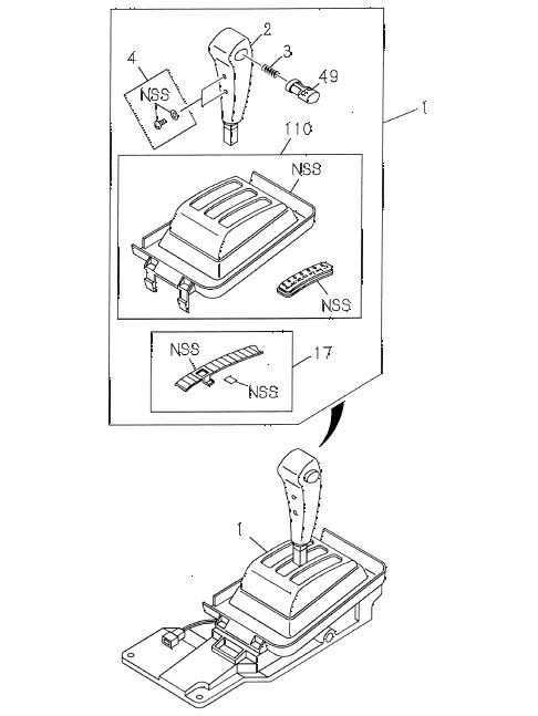 Honda online store : 1998 passport select lever parts