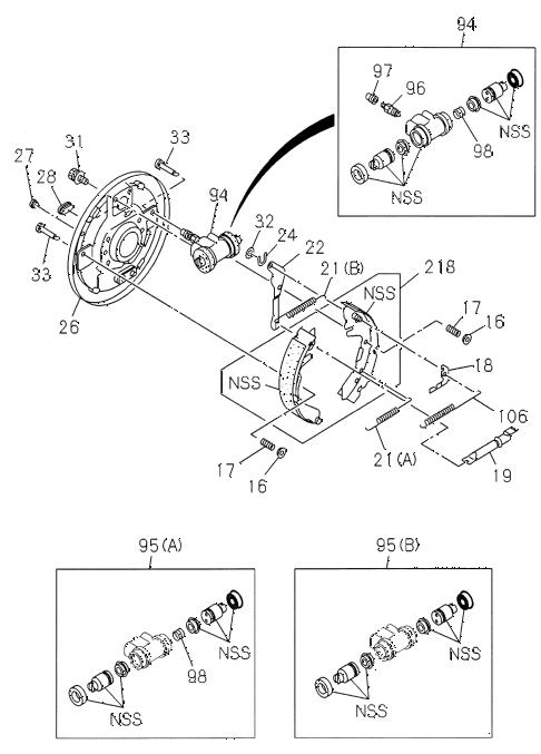 Honda online store : 1998 passport rear brake (drum) parts