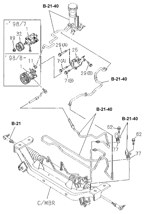 Honda online store : 1998 passport p.s. control (engine) parts