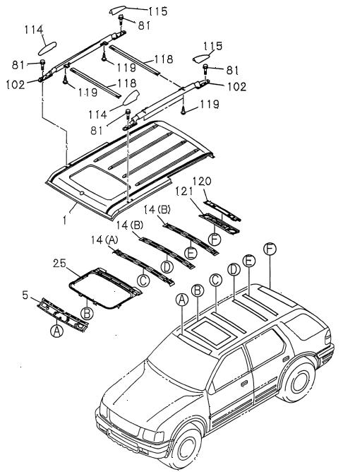 Honda online store : 1998 passport roof panel (sunroof) parts